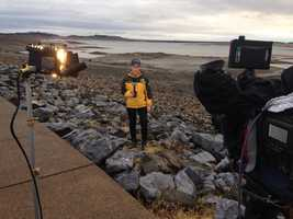 Bonus slide! (Editor's note: We just thought this was too cool of a picture to leave out. Here's a behind-the-scenes look at Mallory reporting from Folsom Lake, shot by the talented KCRA 3 photographer John Breedlove).