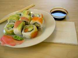 6) California Roll -- Sushi chef Ichiro Mashita began substituting avocado for toro and continued to experiment until the California roll was perfected.