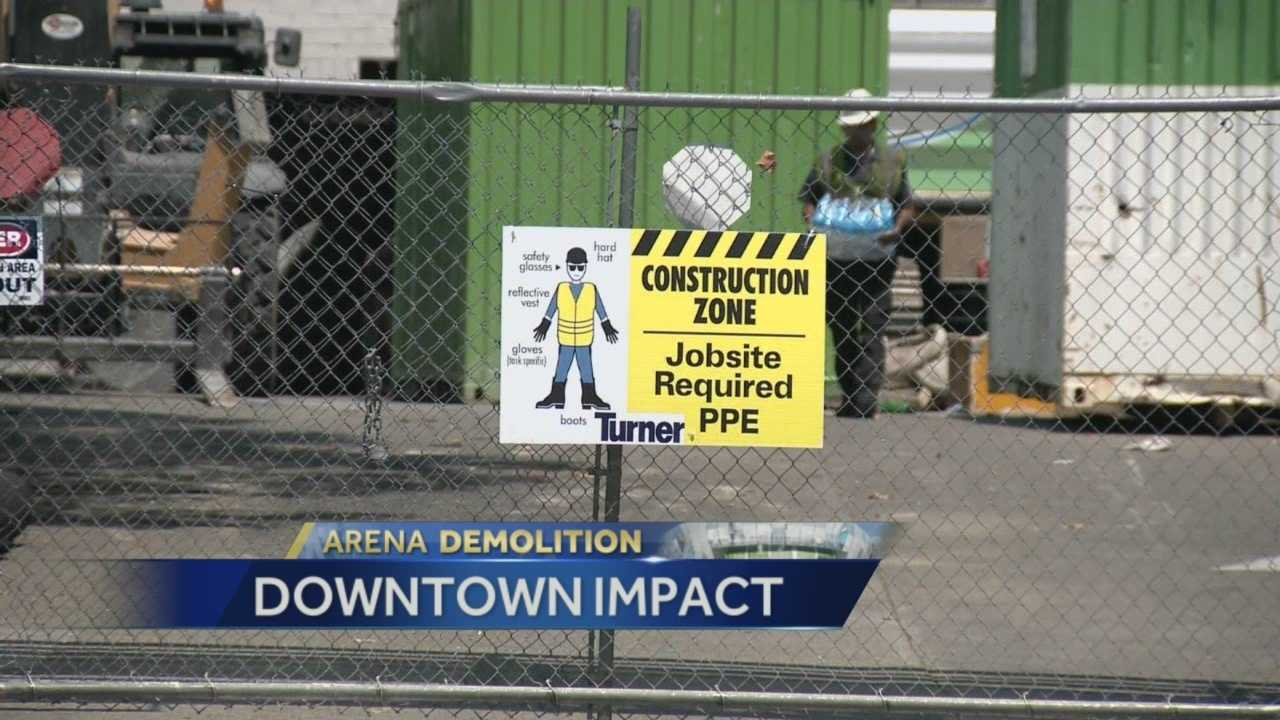 Demolition of the Downtown Plaza has begun inside the mall and drivers outside need to be aware changing road conditions.