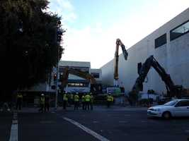 The first phase of demolition at the site of the new downtown arena in Sacramento is under way.