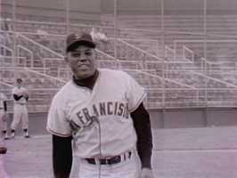 """Back when the San Francisco Giants were still playing at Candlestick Park, Sweet and a sports reporter got to play catch with the """"Say Hey Kid,"""" Willie Mays."""
