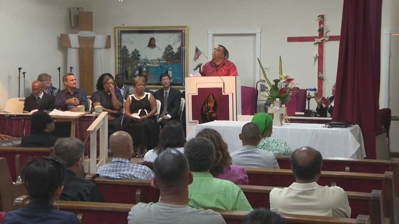 Members of the community held a prayer vigil at a Sacramento church Monday to remember Michael Brown, the teen killed in Ferguson, Missouri.