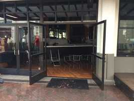 A store in downtown Napa suffered damage from flooding from a broken water line in Sunday morning's earthquake. (Aug. 24, 2014)