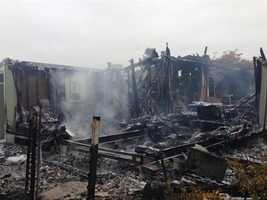 Mobile homes were gutted after a fire broke out following Sunday's earthquake. (Aug. 24, 2014)