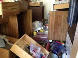 Here's some damaged inside a kitchen at Charter Oaks Apartment complex in Napa. (Aug. 24, 2014).