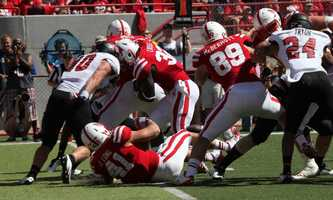 Ameer Abdullah pushes it into the end zone in the second quarter.