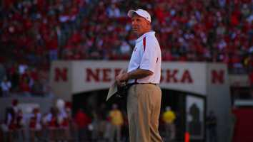Bo Pelini tries to get the officiating crews attention in the third quarter.