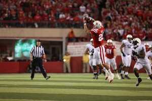 Husker tight end Kyler Reed hauls in a crucial 56 yard pass reception that set up a touchdown a few plays later.
