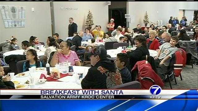 Children have breakfast with Santa