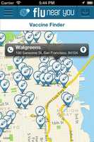 The app also provides a Vaccine Finder, which identifies nearby locations offering the flu vaccine and provides directions.