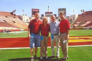 """Brandi's favorite assignments are the times she covers the Huskers. """"These road trips mean long work days for our crews who have the honor of travelling with the team, but it's great to be around such positive energy. And it is truly amazing to standing on the field at Memorial Stadium with 80,000 plus screaming fans around you."""""""