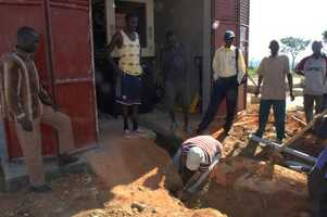Digging trench for generator conduit