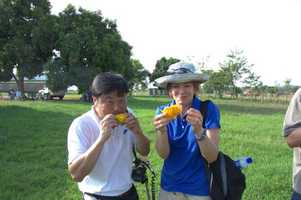 Andrew and Julie take a quick mango break