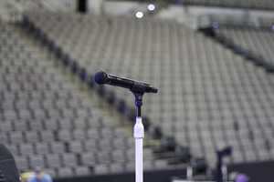 Microphone at center stage.