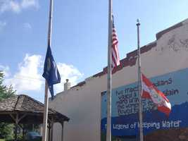 Flags in Weeping Water, Neb., at half staff.