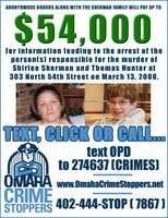 Thomas Hunter, 11, and Shirlee Sherman, 57, appear on a Crime Stoppers poster.