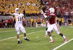Nebraska senior Jason Ankrah applies pressure.