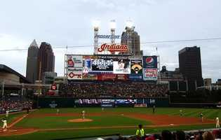 Progressive Field, home of the Cleveland Indians -- $400 for on-field proposal at one of the season's 15 post-game fireworks nights. In-game proposals not offered.