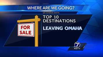 Here are the top 10 places people from the Omaha metro move, according to U.S. Census data.