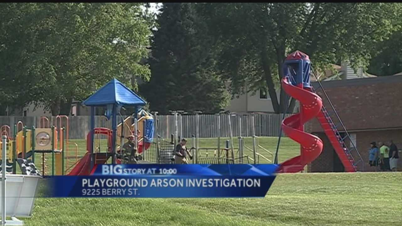 Fireworks blamed in playground fire