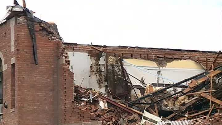 Demolition begins on what's left of middle school in Pilger