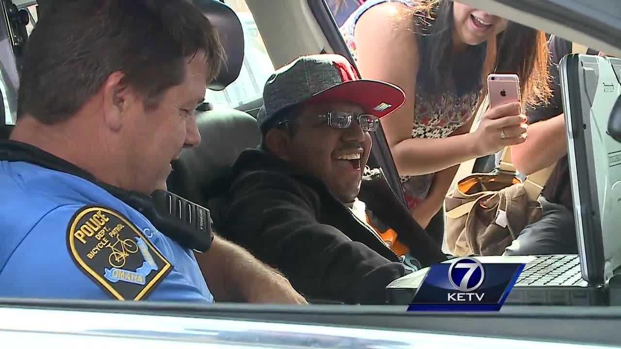 Lights, sirens and smiles as police grant Omaha man's wish