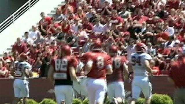 45,250 Razorback fans turn out for the 2012 Red-White game.