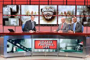 "Arkansas Razorbacks coach John L. Smith and Kentucky coach Joker Phillips join Rece Davis on the set of ""College Football Live"""