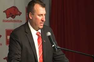 Bret Bielema is introduced as the head coach of the Razorbacks on December 5. During his introductory press conference, Bielema talks about how he grew up on a pig farm in Illinois, winning over the affections of Hogs' fans almost immediately.