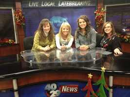 Michelle and Jinger took a picture in our studio with anchor Angela Taylor and Managing Editor Melissa Williams!