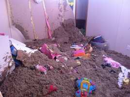 Insulation from the Hobbs' attic is mixed with toys.