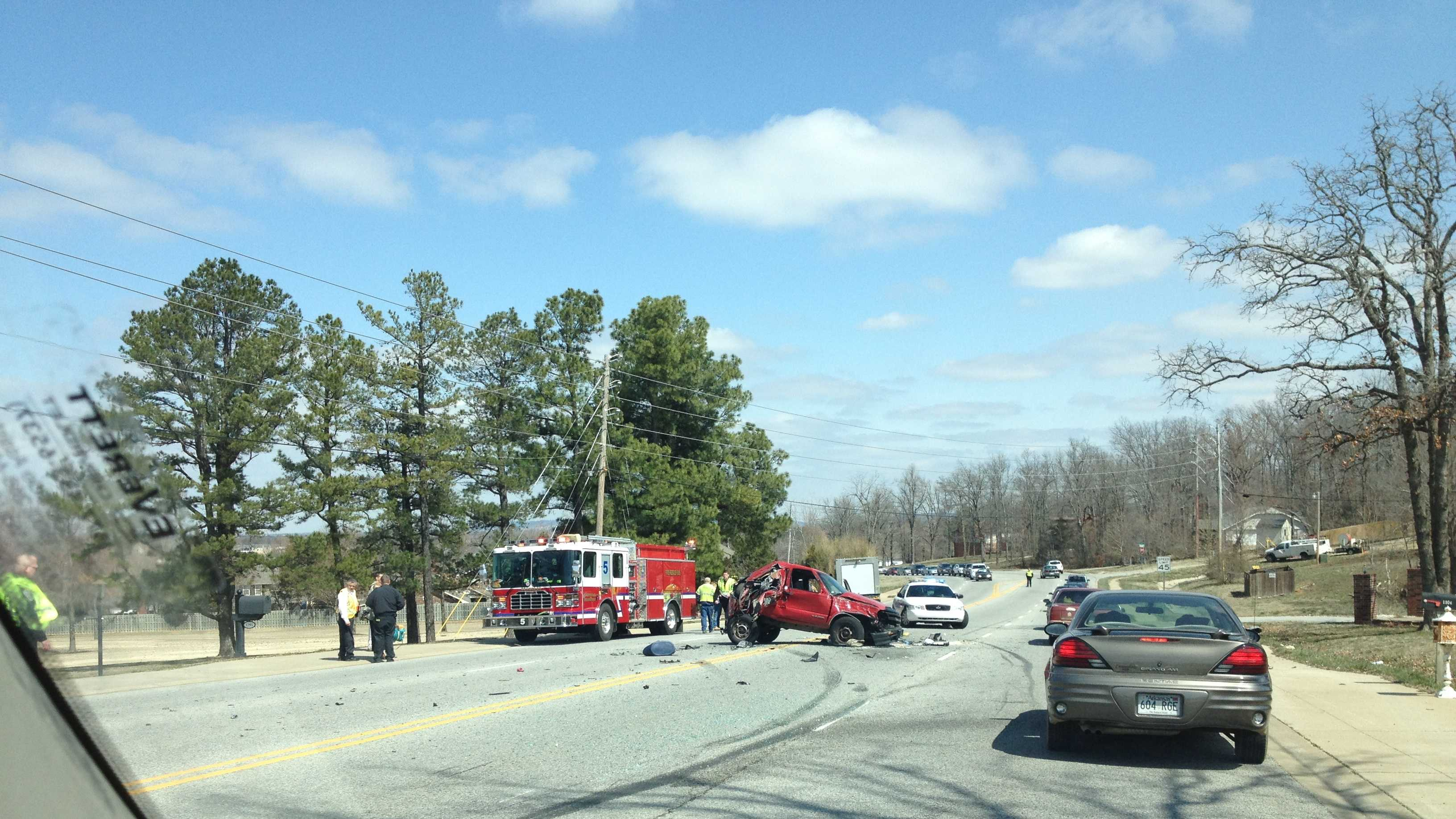 Accident blocks Crossover Rd.