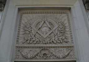 2. MasonMasonic temple freize in Little Rock.
