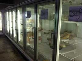 Despite donations from Tyson and Wal-Mart, the meat coolers empty quicky.