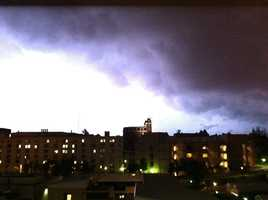 Lightning over Old Main on the U of A campus in Fayetteville.