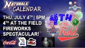 Arvest Ballpark is hosting Fourth at the Field on July 4. The gates will open at 4:45 p.m. and the baseball game featuring the Joplin Outlaws and the Nevada Griffons will start at 5 p.m. After the game, the We Hart Band will play at 8 p.m. and the fireworks are scheduled to begin at 9:05 p.m. Tickets are $8 for adults and $6 for children.