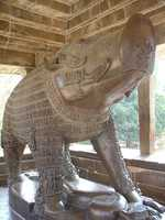 This boar is in Khajuraho, India. It represents the avatar of the Hindu god Vishnu.