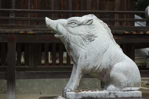 This guardian boar sits in Okayama, Japan.