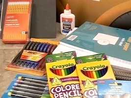 School supplies, school art supplies and school instructional material are all tax free. Only the following items listed by the state count.