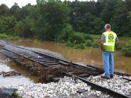 Flooded railroad tracks in Washington Co.