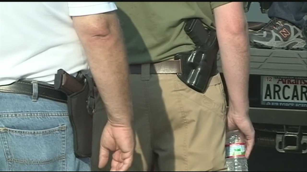 Protesters in Fort Smith say they openly carried weapons to bring attention to their rights.