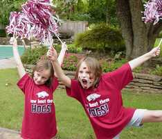 Sara and Lindsey showing their team spirit.