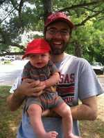 40/29 Producer Adam Roberts and his little hog fan Alexander.