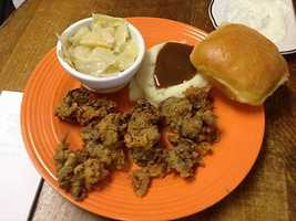 You can start your day with these chicken livers at the Wagon Wheel Country Cafe in Springdale.