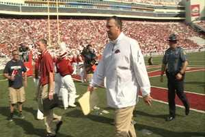 Coach Bret Bielema wears the same windbreaker at every game, no matter the weather.