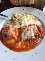 Bella Napoli's in Rogers. This is their pasta combo with lasagna, manicotti, and fettuccine Alfredo.