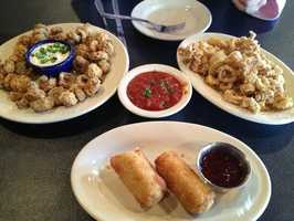 Fried Mushrooms, Fried Calamari, and Crab Egg Rolls at Powerhouse in Fayetteville