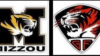 Logos for the University of Missouri and Green Forest High School