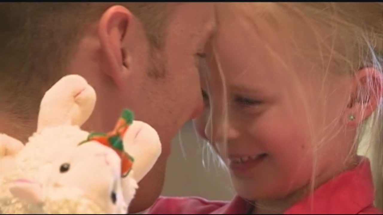 40/29's Brett Rains shows us the surprise reunion between the soldier and his young daughter