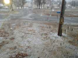Sleet covered the ground at Fr. Chaffee RV park in Barking, Ark. Photo courtesy of Phyllis Rouzer